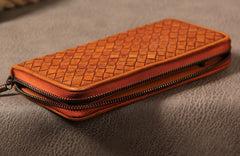 Cool Braided Leather Mens Clutch Brown Vintage Zipper Wallet for Men