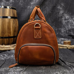 Cool Brown Leather Mens 19'' Overnight Bag Duffle Bag Travel Bag Large Weekender Bag for Men