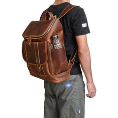 Cool Brown Mens Leather 15 inches Large School Computer Backpack Dark Brown Laptop Travel Backpack for Men