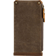 Cool Canvas Leather Mens Bifold Long Cards Wallet Long Wallet for Men