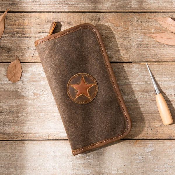 Cool Canvas Leather Mens Bifold Long Wallet Zipper Long Wallet for Men