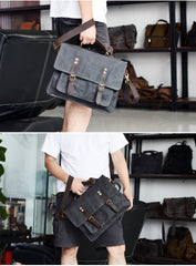 Waxed Canvas Leather Mens Green Casual 14'' Briefcase Handbag Messenger Bag Side Bag For Men