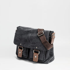 Cool Canvas Leather Mens Small Black Side Bag Messenger Bag Shoulder Bag For Men