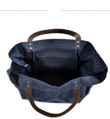 Cool Canvas Leather Mens Casual Waterproof Tote Bag Shoulder Bag Tote Purse For Men