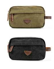 Cool Canvas Leather Mens Black Clutch Bag Mini Green Phone Bag Wristlet Bag For Men