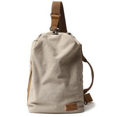 Cool Canvas Mens Sling Bag Backpack Travel Chest Bag Canvas Barrel Bag for Men