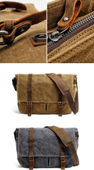 Waxed Canvas Leather Mens Waterproof 14'' Computer Black Side Bag Messenger Bag For Men