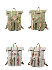 Cool Waxed Canvas Leather Mens Waterproof 16'' Large Hiking Backpack Travel Backpack for Men