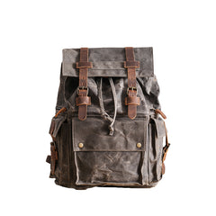 Waxed Canvas Leather Mens Gray Waterproof 15'' Large Backpack Travel Backpack College Backpack for Men
