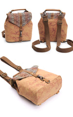 Cute Canvas Leather Mens Womens Small Pink Backpack Khaki Travel Backpack College Backpack for Men