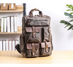 Cool Waxed Canvas Leather Mens Waterproof 15'' Backpack Gray Travel Backpack Hiking Backpack for Men