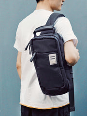 Cool Oxford Cloth PVC Men's Black Sling Bag Chest Bag One Shoulder Backpack For Men
