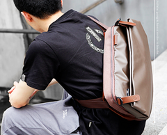 Cool OXFORD CLOTH PVC PU Men's Casual Sling Bag One Shoulder Backpack For Men