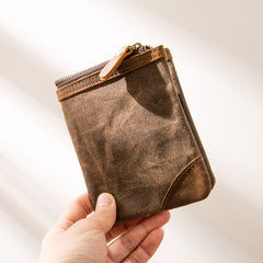 Cool Canvas Mens Small Wallets Bifold Vintage Short Wallet for Men