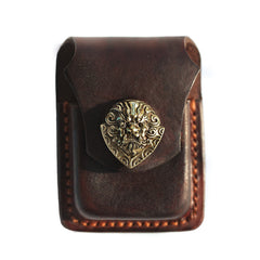 Cool Leather Mens Zippo Lighter Cases With Belt Loop Standard Coffee Zippo Lighter Holders For Men