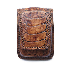 Badass Brown Leather Mens Zippo Lighter Cases With Belt Loop Lighter Holders For Men