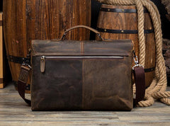 Cool Dark Brown Leather Mens 15 inches Briefcase Laptop Bag Business Side Bags Work Bag for Men