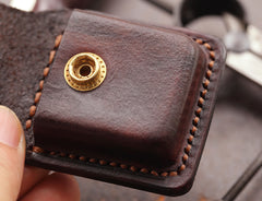 Cool Dark Brown Leather Mens Holster Zippo Lighter Case Standard Zippo Lighter Holder For Men