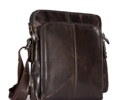 Cool Brown Leather Mens Tablet Messenger Bag Small Side Bag Mini Messenger Bag For Men