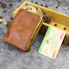 Brown Leather Men's Yellow Zipper Camel Small Wallet Bifold billfold Card Wallet For Men
