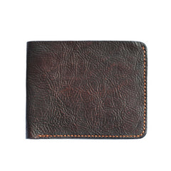 Cool Distressed Brown Leather Mens SMall Wallet billfold Wallet Bifold Front Pocket Wallet For Men