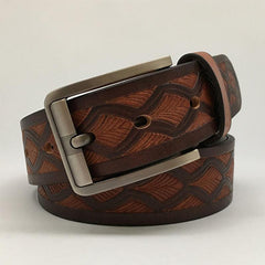 Handmade Cool Brown Tooled Leather Mens Belt Dark Brown Leather Belt for Men