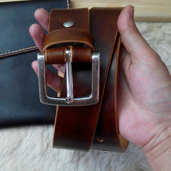 Cool Handmade Brown Leather Mens Belt Leather Belt for Men