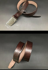 Handmade Cool Dark Brown Leather Mens Belt Coffee Leather Belt for Men