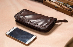 Cool Handmade Leather Mens Clutch Coffee Vintage Zipper Wallet for Men