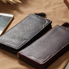 Cool Handmade Leather Black Mens Clutch Vintage Zipper Wallet for Men