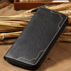 Cool Handmade Leather Coffee Mens Clutch Vintage Zipper Wallet for Men
