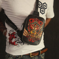 Cool Handmade Tooled Leather Tang Lion Sling Bag Chest Bag One Shoulder Backpack For Men