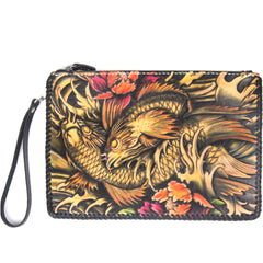 Cool Handmade Tooled Leather Monster Clutch Wallet Wristlet Bags Clutch Purse For Men