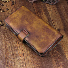 Cool Leather Brown Mens Long Wallet Gray Buckled Long Wallet Trifold Clutch Wallet for Men