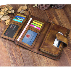 Cool Brown Leather Mens Long Wallet Buckled Long Wallet Trifold Gray Clutch Wallet for Men