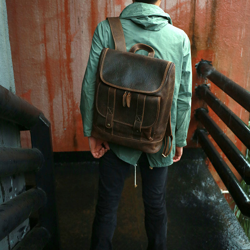 Cool Leather Coffee Mens Backpack Travel Backpacks Laptop Backpack for men
