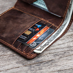 Cool Leather Men Slim Small Wallet Bifold Vintage Small Wallet for Men