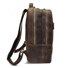 Cool Leather Mens Large Backpack Vintage Travel Backpack School Backpack for Men