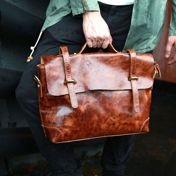 Cool Leather Mens Briefcase Messenger Bags Handbag Shoulder Bag for men