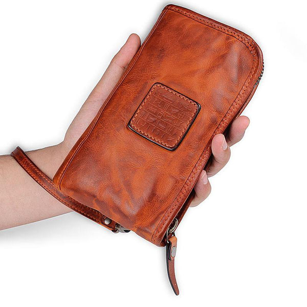 Cool Leather Mens Brown Long Chain Wallet Black Wristlet Wallet Black Clutch Wallet for Men