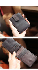 Cool Leather Mens Card billfold Wallet Trifold SMall Bifold License Wallet Camel Card Holders For Men