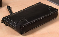 Cool Leather Mens Clutch Wristlet Bag Black Zipper Clutch Wallet for Men
