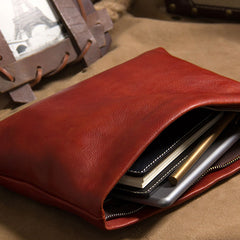 Cool Leather Mens Clutch Wristlet Bag Brown Zipper Clutch for Men
