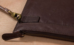 Cool Leather Mens Clutch Wristlet Bag Vintage Zipper Clutch for Men