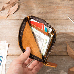 Cool Leather Mens Front Pocket Wallet Vintage Small Wallets for Men