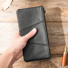 Cool Black Leather Mens Slim Long Zipper Clutch Wallet Long Wallet Phone Bag for Men