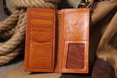Cool Leather Mens Long Leather Wallet Bifold Slim Wallet for Men