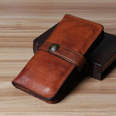 Cool Leather Mens Long Leather Wallet Bifold Vintage Brown Wallet for Men