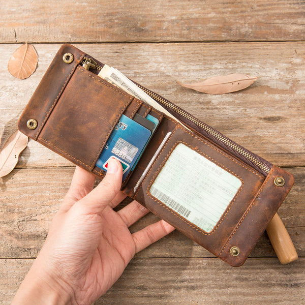Cool Leather Mens Slim Small Wallets Bifold Vintage billfold Wallet for Men