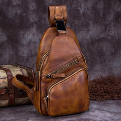 Cool Leather Mens Sling Bag Crossbody Bag Chest Bag for men